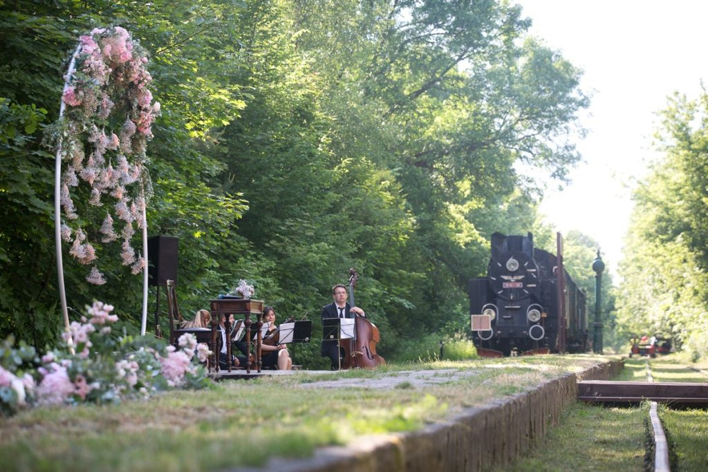 orkiestra weselna wśród kwiatów